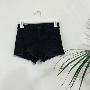 Black American Eagle Distressed Jean Shorts